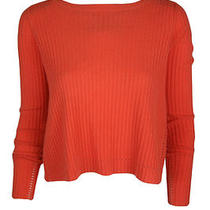 Inhabit Womens Orange Ribbed Cropped Cashmere Boatneck Sweater Xs 360 New Photo