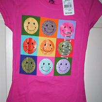 Ink Inc Girls S/s Graphic Tee Pink Smiley Face or Aqua Butterfly 100% Cotton Nwt Photo