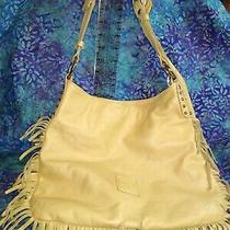 Innue Tan Fringe Leather Shoulder Hobo Bag Purse W/studs Detail Made in Italy Photo