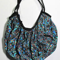 Insight Planet Blue Aqua Blue Black Mosaic Stained Glass Print Hobo Bag Nwt Photo