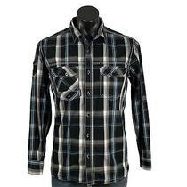 Insitu Dnm75 Black Checked L/s Shirt Mens Size Small 100% Cotton Shoulder Pocket Photo