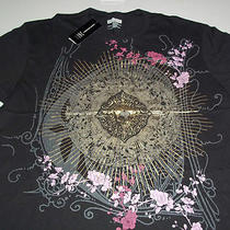 International Concepts Mens Size Large Black T Shirt With Gold & Purple Graphics Photo