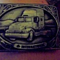 International Semi Truck Trucker Trucking Diesel 1990's Vintage Belt Buckle Photo