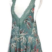Intimately Free People Top Green Floral Lace Trim Sleeveless Peplum Tank Size Xs Photo
