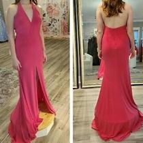 Intrigue by Blush Nwt Prom Formal Halter Gown Dress Hot Pink Size 6 Don't Miss Photo
