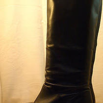 Ipanema Low Heel Tall Black Real Leather Boot Size 9m Photo