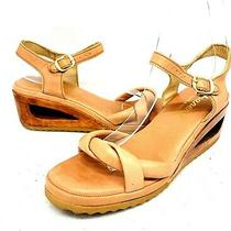 Ipanema Size 7.5m Tan Leather Wooden Heel Sandals Donut Hole Heel Made in Brazil Photo