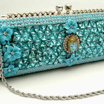 Iris G Hand-Made Austrian Crystal Aqua Asian Face Designer Evening Bag - Ooak Photo
