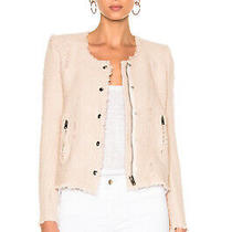 Iro Agnette Distressed Tweed Jacket in Blush Pink Sand - Fr 34 Us 0 or 2 Photo