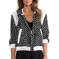 Iro Alisa Teddy Leather Trim Panel Tweed Jacket Jacket Size 36  Us 2 Photo