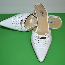 Isaac by Isaac Mizrahi White Italian Leather Wedding Shoes Size 10 B Photo
