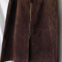 Isaac Misrahi Womens Genuine Brown Leather Sz 12 Skirt Full Zipper on Front  Photo
