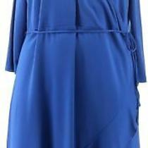 Isaac Mizrahi 3/4-Sleeve Ruffle Hem Knit Wrap Dress Ink Blue M New A353284 Photo