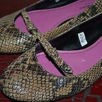 Isaac Mizrahi Animal Snakeskin Print Leather Slip on Ballerina Ballet Flats 10 Photo