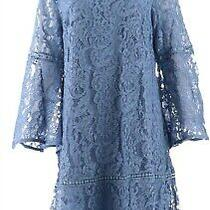 Isaac Mizrahi Bell Slv Lace Dress Flounce Hem St. Barts Blue 2 New A311382 Photo