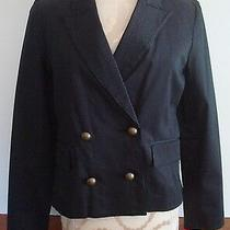 Isaac Mizrahi Black Double Breasted Pin Stripe Blazer Size M Nwts Photo