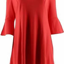 Isaac Mizrahi Cold Shoulder Ruffle Bell Slv Dress Lipstick Red Xl New A303180 Photo