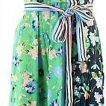 Isaac Mizrahi Color-Block Floral Faux Wrap Dress Dark Navy Green M New A352278 Photo
