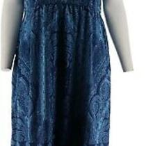 Isaac Mizrahi Engineered Paisley Print Maxi Dress Deep Blue Xs New A278249 Photo