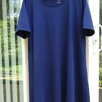 Isaac Mizrahi Essentials Pima Cotton Elbow- Sleeve Dress - New - Navy Petite Xl Photo
