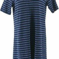 Isaac Mizrahi Essentials Striped Elbow Slv Dress Dark Navy Xs New A366501 Photo