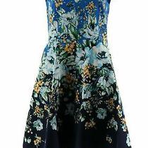 Isaac Mizrahi Floral Engineered Print Fit & Flare Dress Blue 16 New A352284 Photo