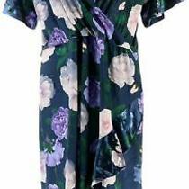 Isaac Mizrahi Floral Printed Velvet Faux Wrap Dress Navy Multi 2x New A344329 Photo