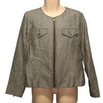 Isaac Mizrahi for Target Womens Casual Zip Up Jacket Size X-Large Tan Career Photo