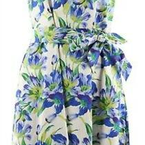 Isaac Mizrahi Garden Floral Print Fit Flare Dress Blue 6 New A288662 Photo