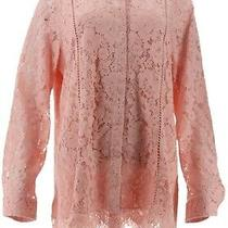 Isaac Mizrahi Lace Button Front Blouse Rose Blush 6 New A311373 Photo