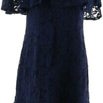 Isaac Mizrahi Lace Ruffle Cold Shoulder Dress Dark Navy 4 New A308008 Photo