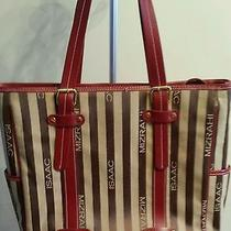 Isaac Mizrahi Large Tan Bronze and Red Tote/computer Bag  Photo