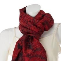 Isaac Mizrahi Live Bold Damask Printed Scarf A228766 Rio Red Photo
