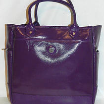 Isaac Mizrahi Live Coated Canvas North/south  Extra Large  Purple Tote  Photo