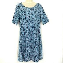 Isaac Mizrahi Live Dress M Scroll Knit Jacquard Fit & Flare Blue A293930 Medium Photo