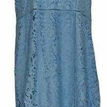 Isaac Mizrahi Live Dress Sz Xl Regular v-Neck Floral Lace Midi Blue A376663 Photo