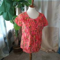 Isaac Mizrahi Live Ladies Size S Floral Ruffle Front Cotton Top Short Slv Orange Photo