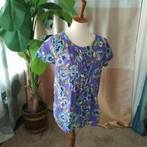 Isaac Mizrahi Live Ladies Size S Floral Ruffle Front Cotton Top Short Slv Purple Photo