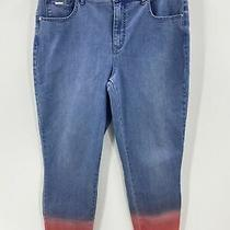 Isaac Mizrahi Live Women's Jeans Size 14 Dip-Dye Ombre Ankle Blue to Red Nwot Photo