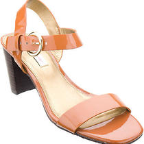 Isaac Mizrahi Live Women Shoes Jade Patent Sandal 6 Wide Cognac New in Box  Photo