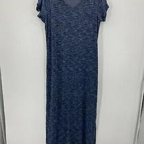 Isaac Mizrahi Live Womens Blue Space Dye Short Sleeve Maxi Dress Nwot Photo