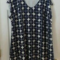 Isaac Mizrahi Live Xl 18 20 16 Navy Blue Cream Geometric Lined Dress Swim Cover  Photo