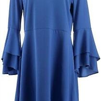 Isaac Mizrahi Pebble Knit Keyhole Dress Ruffle Slvs Blue Azure Xs New A309994 Photo