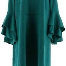 Isaac Mizrahi Pebble Knit Keyhole Dress Ruffle Slvs Forest Teal S New A309994 Photo