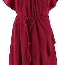 Isaac Mizrahi Pebble Knit Wrap Dress Ruffle Hem Festive Fuchsia S New A306457 Photo