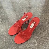 Isaac Mizrahi Red Sandals Kitten Mnz Lace Up String Tie Heel Vtg Mule Photo