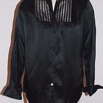 Isaac Mizrahi Shiny Black Lace Silk Blend French Cuff Mandarin Collar Blouse S Photo