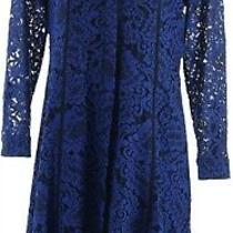 Isaac Mizrahi Special Edition Lace Dress Grosgrain Belt Dark Navy 12 New A345607 Photo