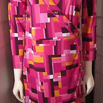 Isaac Mizrahi Target  Pink Block Print Sixties Retro Faux Wrap Retro Dress Sz M Photo