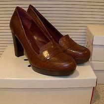Isaacmizrahilive Croco Embossed Leather Pump 10m Cognac Photo
